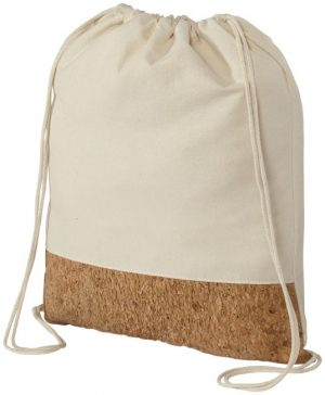 Cork Woods cotton and cork bottom drawstring backpack