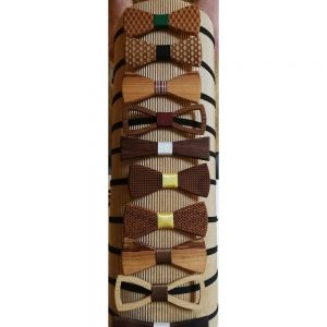 All products Handmade fashion accessory in the shape of a butterfly made from different wood types