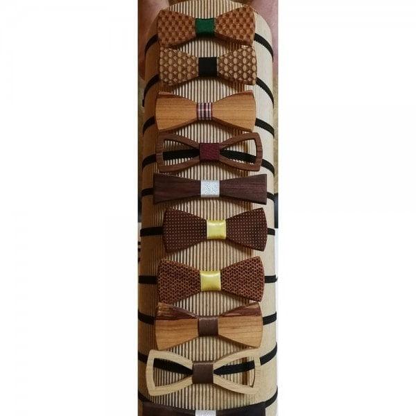 Ekoman Ročno izdelan modni dodatek v obliki metuljčka iz različnih vrst lesa