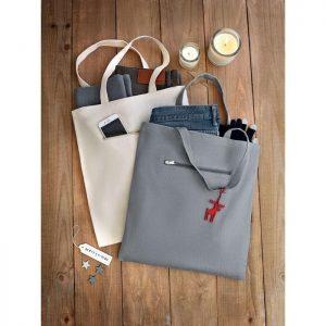 Platno Nakupovalna vrečka z žepom na zadrgo