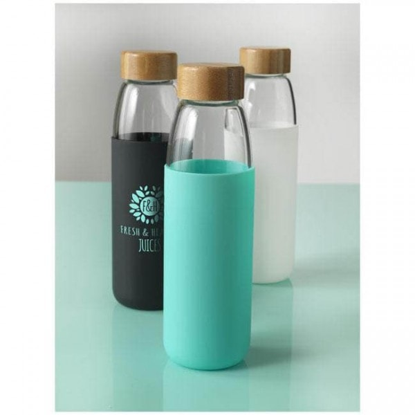 Bottles Kai 540 ml glass sport bottle with wood lid