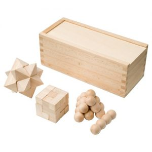 Brain Teaser Brainiac 3-piece wooden brain teaser set