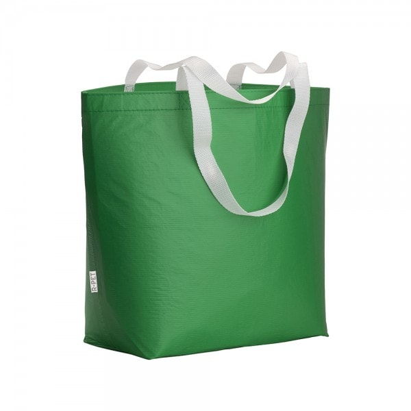PLA - reciklirana plastika Laminirana vrečka iz reciklirane plastike z dolgimi ročaji in dnom