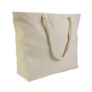 Cotton CANVAS BEACH BAG WITH ZIP AND CORD HANDLES