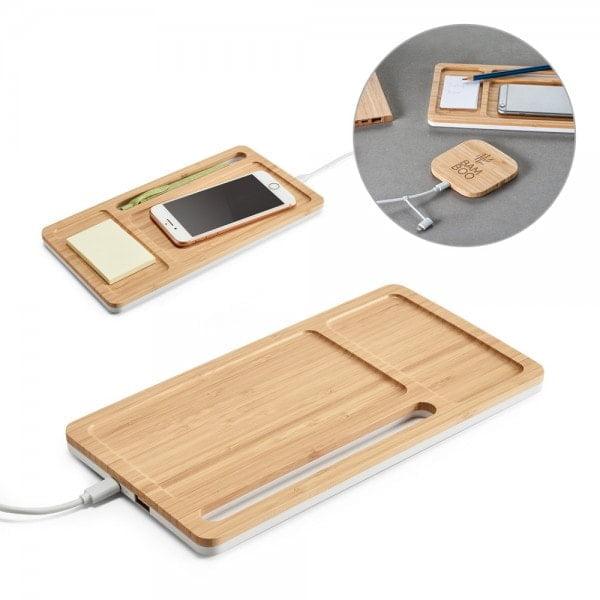 Brezžični in prenosni polnilci Organizator za pisalno mizo iz bambusa