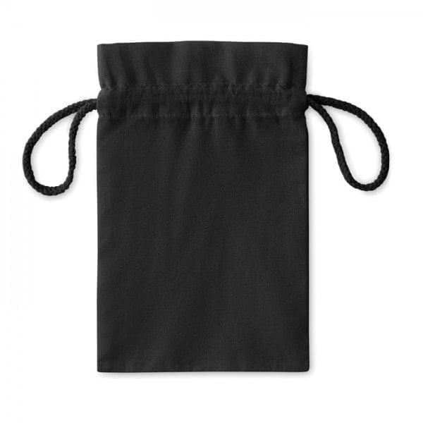 Bombaž Majhna bombažna vrečka z zatezno vrvico – črna