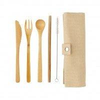 Kuhinja Potovalni set – pribor iz bambusa