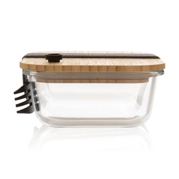 Ekoman Steklena posoda za hrano z bambusovim pokrovom