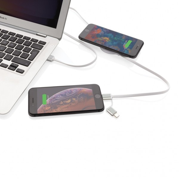 All products 3-in-1 cable with 5W bamboo wireless charger