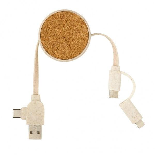 Ekoman 6 v 1 zložljiv kabel iz plute in pšeničnih vlaken