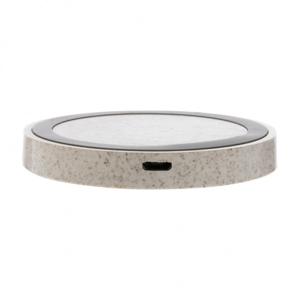 All products Wheat Straw 5W round wireless charging pad