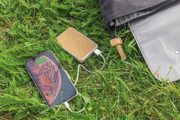 Brezžični in prenosni polnilci Žepni brezžični polnilec 5000 mAh iz plute in pšeničnih vlaken