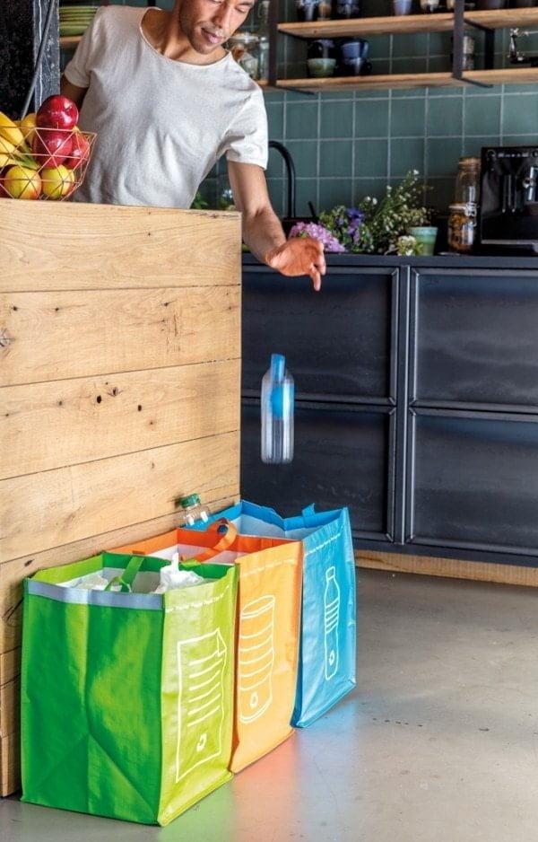 Ločevanje odpadkov 3 delni ločevalni koški za zbiranje odpadkov