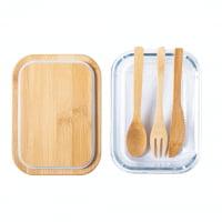 Kuhinja Steklena posoda z bambusovim pokrovom
