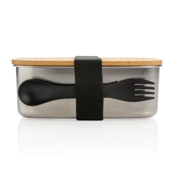 Kuhinja Škatla za kosilo iz nerjavečega jekla z bambusovim pokrovom in priborom